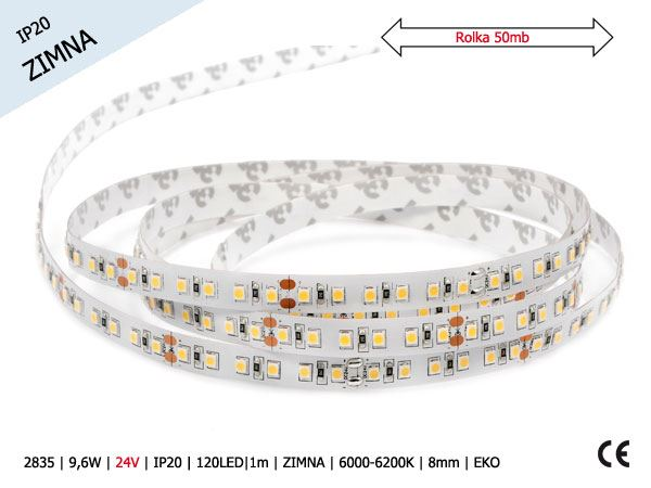 2835 | 9,6W | 24V | IP20 | 120LED|1m | ZIMA | 6000-6200K | 50m | 8mm | EKO