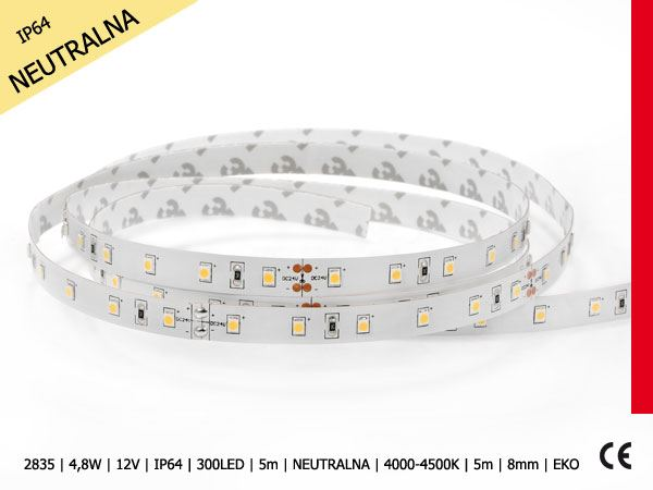 2835-4,8W-12V-IP64-300LED-5m-NEUTRALNA-4000-4500K-5m-8mm-EKO